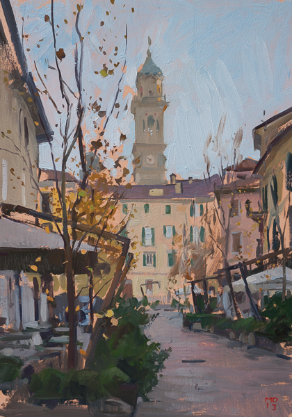 Plein air painting of the bell tower of San Vittore, Varese.