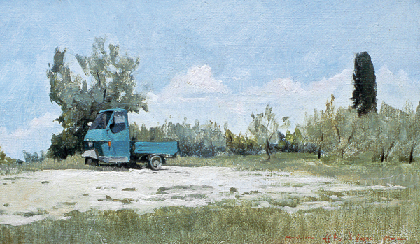 Plein air sketch of a Piaggio Ape in the Tuscan countryside.
