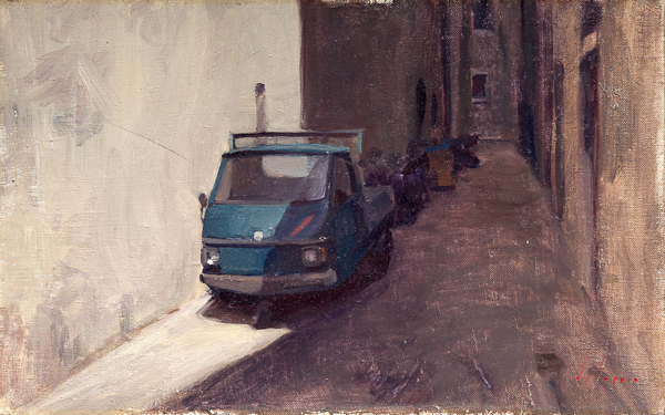 Plein air painting of Via Toscanella, Florence.