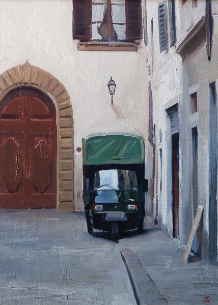 Dipinto di un Ape Piaggio a Firenze