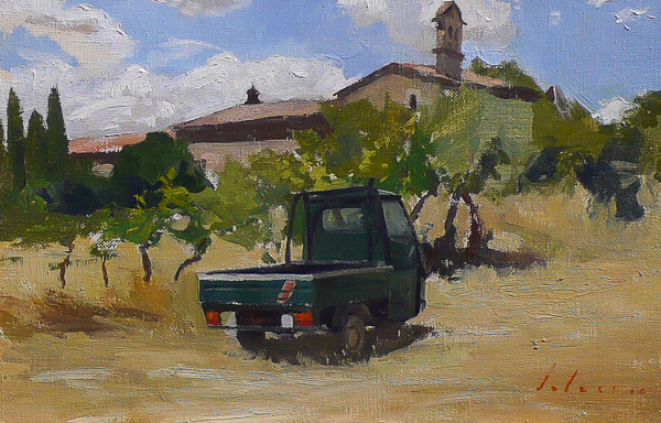 Plein air painting of a Piaggio Ape near San Gimigniano