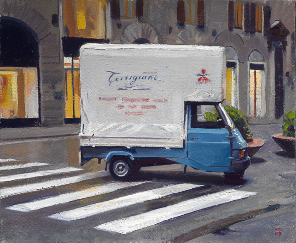 Oil painting of the Vivaio Torrigiani delivery truck.