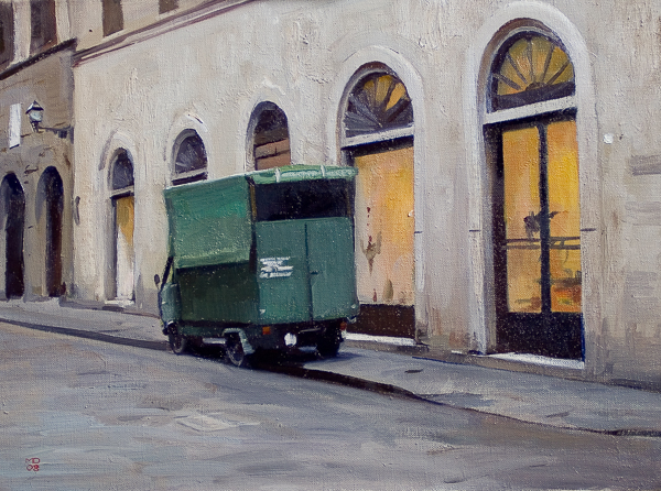 Oil painting of a delivery truck in Florence.