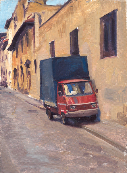 Plein air painting of Via Maffia, Flrorence