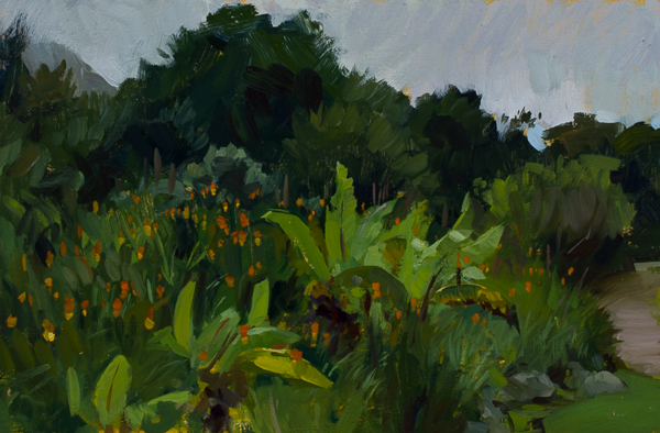 Banana Trees in the Kirstenbosch Gardens Plein Air Painting in Cape Town, South Africa
