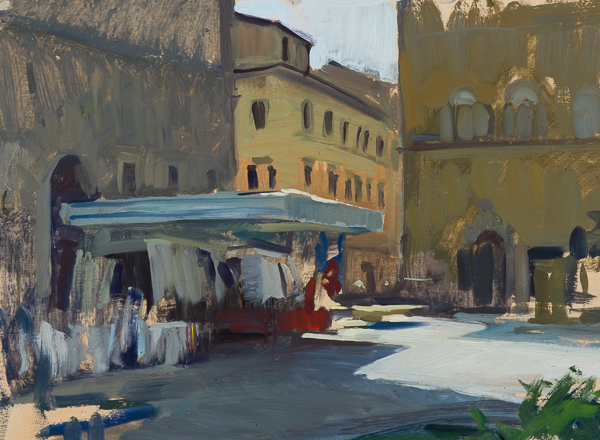 Plein air painting of Piazza Santo Spirito.