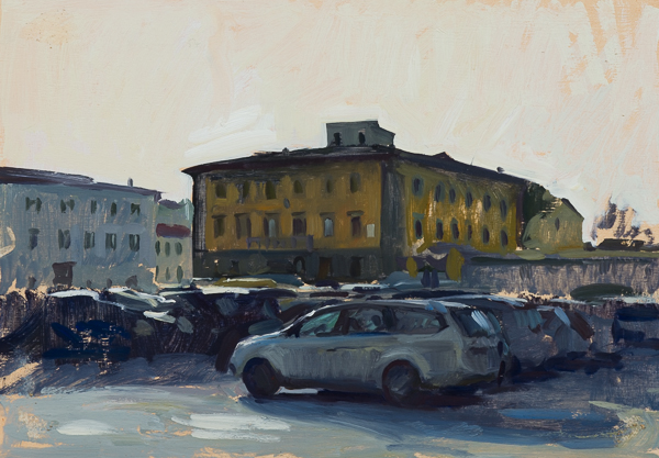 Plein air cityscape oil painting of Piazza del Carmine, Florence.