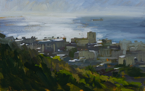 Plein air landscape painting of Sea Point, Cape Town.