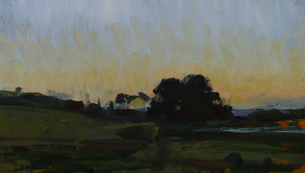 Plein air painting of sunset in Stellenbosch.