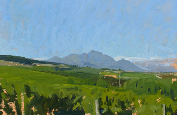 Landscape paintings of vineyards near Stellenbosch, Cape Town