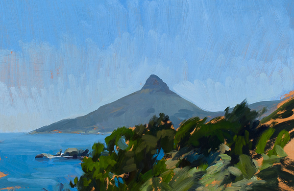 Plein air landscape painting of Lion's Head, Cape Town.
