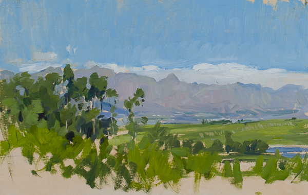 Plein air painting from DeMorgenzon Vineyards