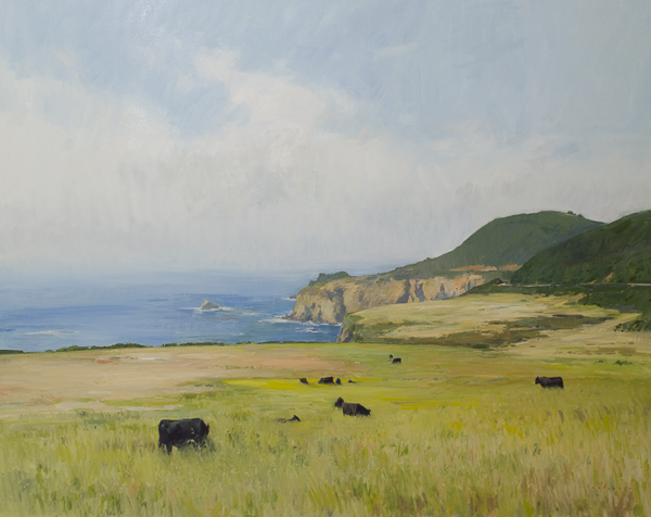 Oil painting of cows in Big Sur.