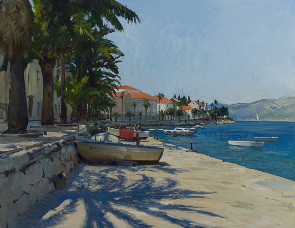 Plein air landscape painting of Korcula, Croatia