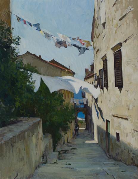 Laundry in the Wind in Korcula Recent Larger Landscape Paintings (2014)