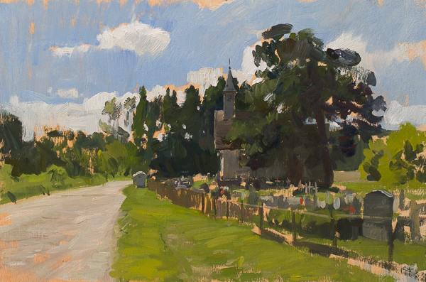 Plein air painting of a Chapel near Brkisevina, Croatia.