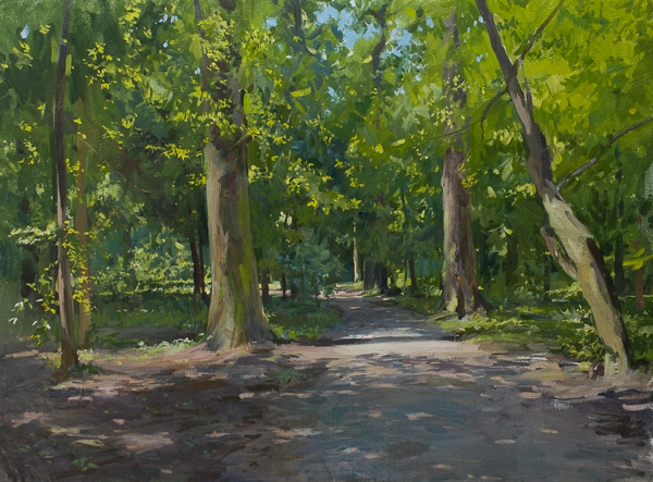 Landscape painting in oils of a path in Maksimir Park, Zagreb.