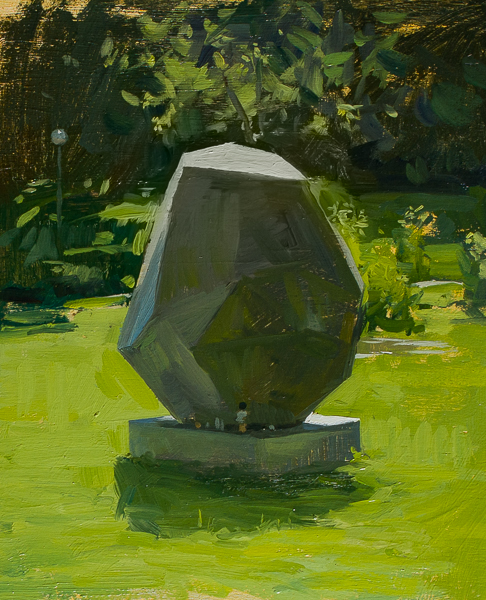 Plein air painting of modern sculpture in Zagreb.