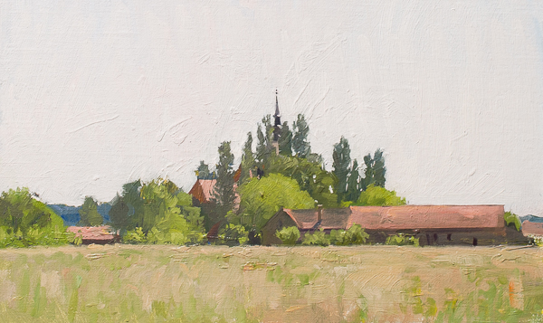 Plein air landscape of Sisinec, Croatia.