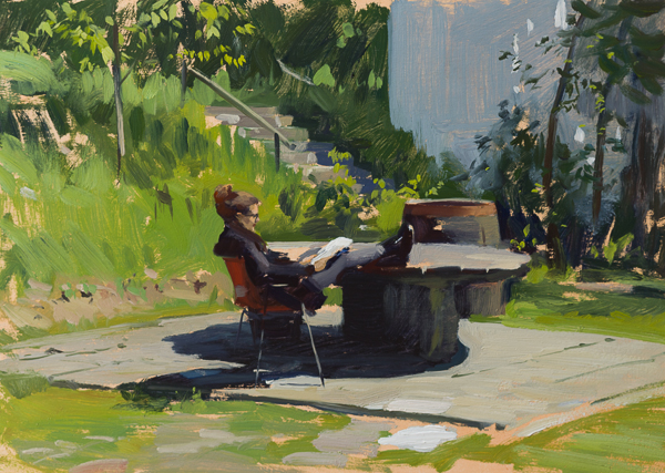 Plein air painting of Tina reading.