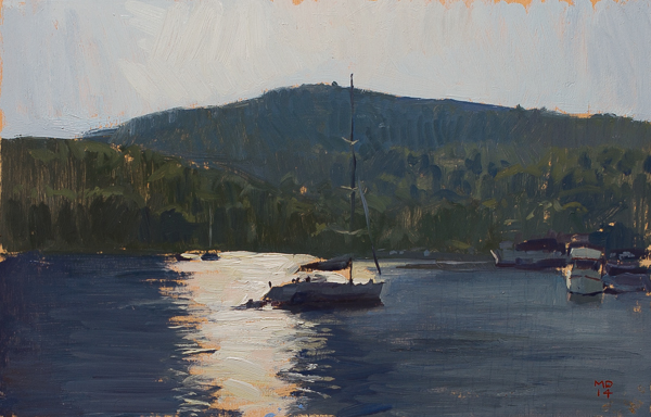 plein air landscape painting in Vis harbor.