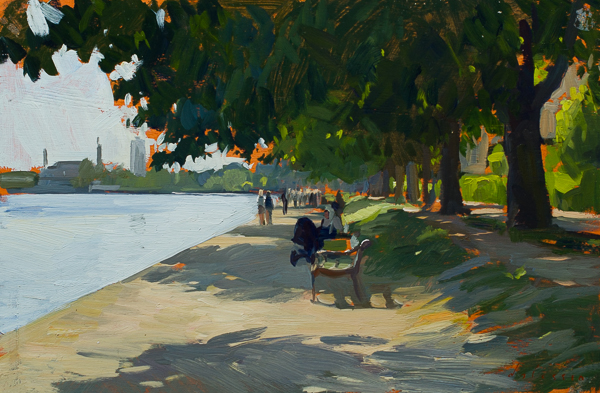 Oil painting of the Peblinge Sø, Copenhagen.