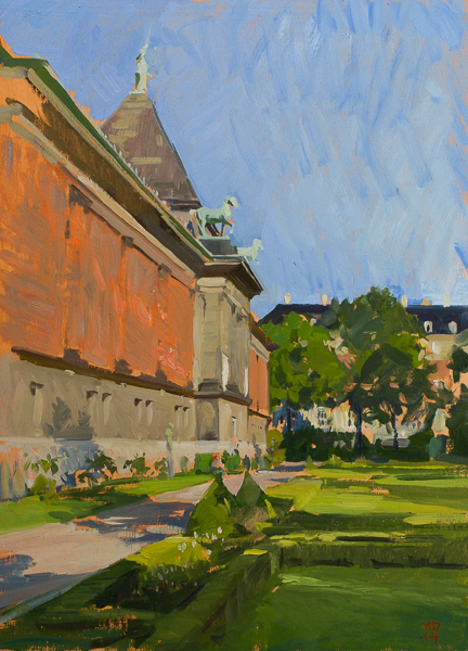 Plein air painting of the garden behind the Glyptotek, Copenhagen.
