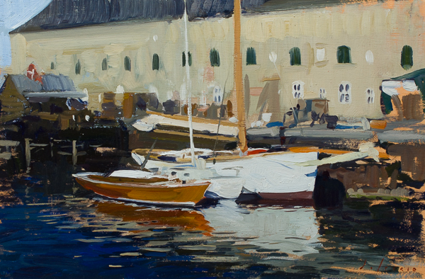 Plein air painting of boats in Copenhagen.