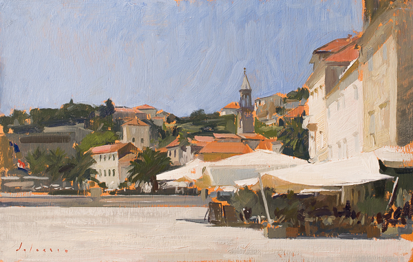 Plein air cityscape painting, Hvar.