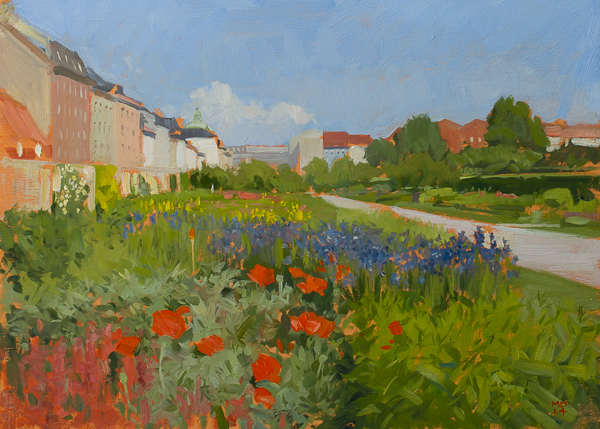Oil painting of the English Gardens in the Kongens Have, Copenhagen.