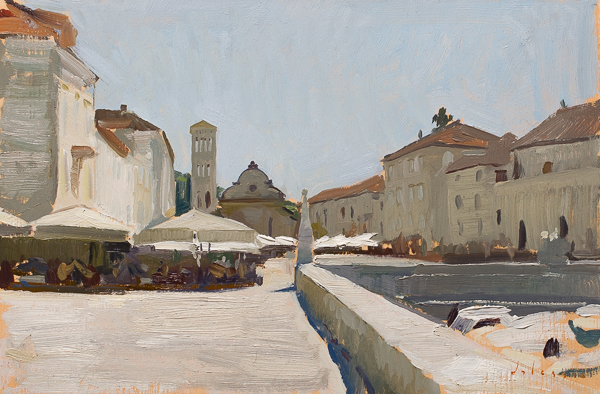 plein air landscape painting of Hvar, Croatia.