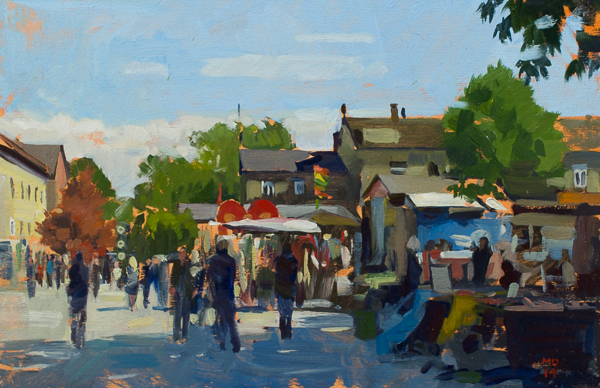 Plein air painting of Christiania, Copenhagen.