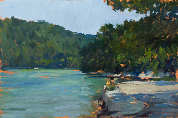 landscape painting of lake mljet