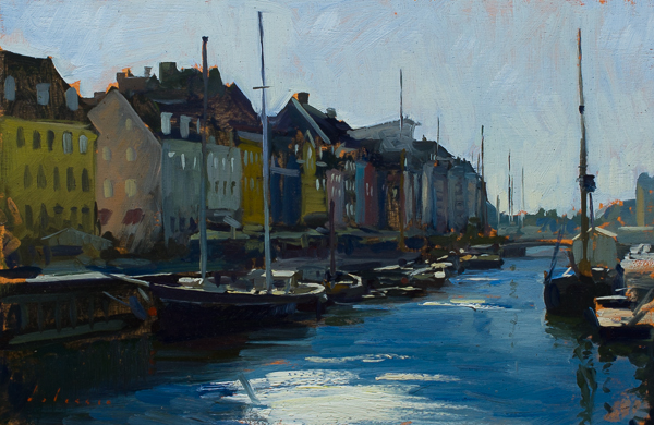 Plein air painting of Morning on the Nyhavn, Copenhagen.
