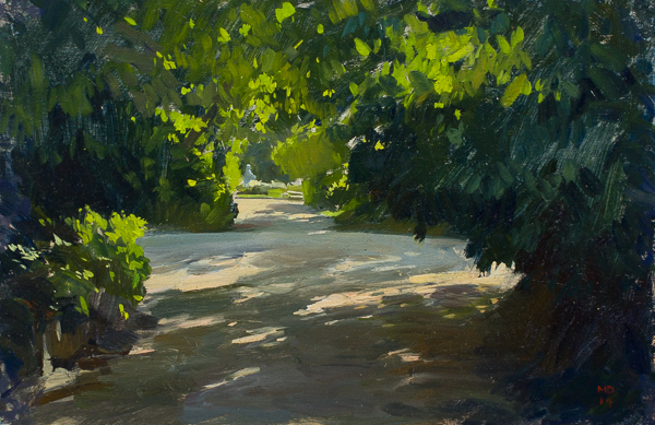 Plein air sketch of a Path in the Ørstedsparken, Copenhagen.