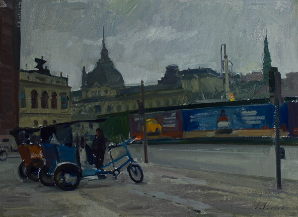Oil painting of rickshaws in Copenhagen.