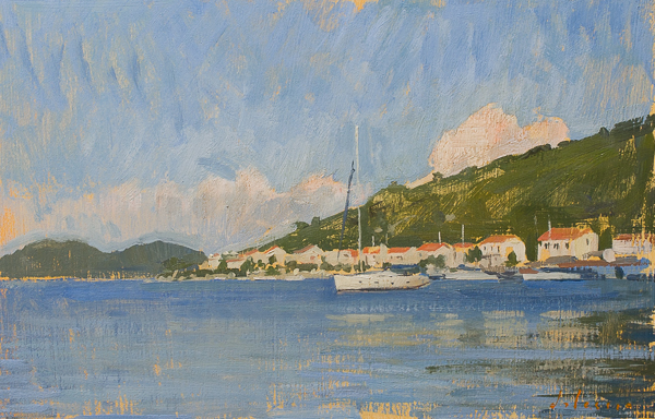 Sailboat, Mljet. 20 x 30 cm, oil on panel.