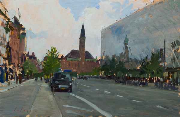Plein air landscape painting of the city center, Copenhagen.