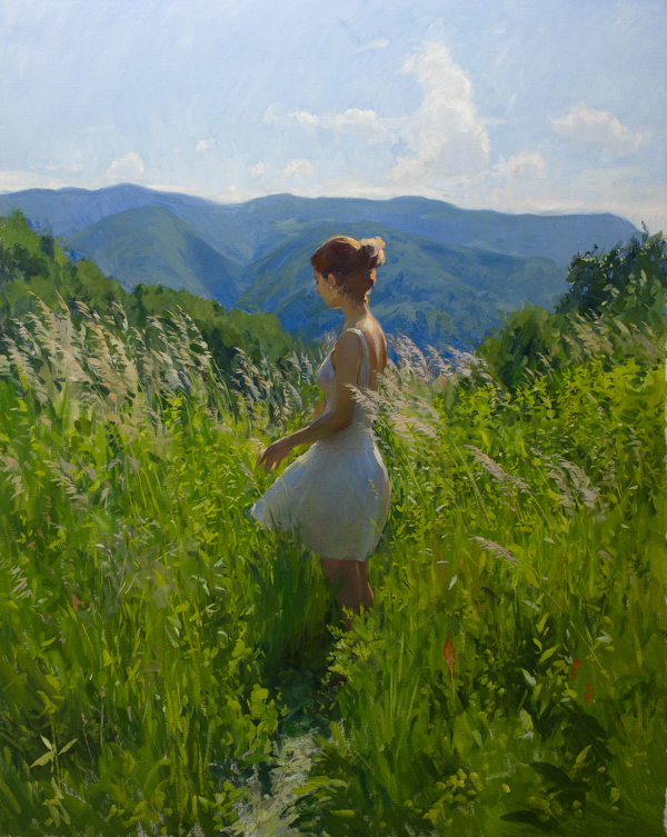 Plein air figure painting.