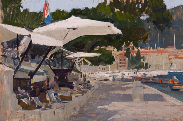 Tourist Stands, Hvar. 20 x 30 cm, oil on panel.
