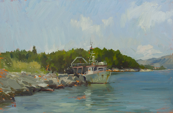 Plein air painting of the fishing boat Adriana, Korcula, Croatia.