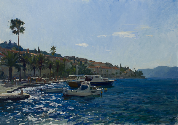 Plein air seascape of Korcula, Croatia.