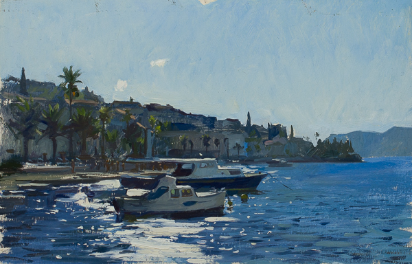 Plein air painting of afternoon on Korcula.