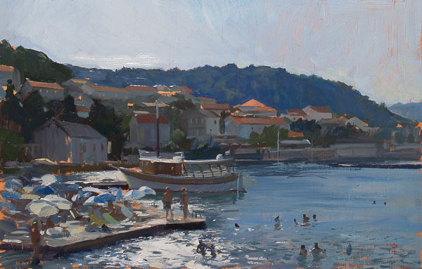 Plein air painting of the Marko Polo Hotel, Korcula, Croatia.