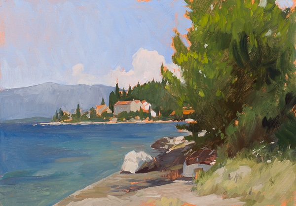 Study for a larger painting of Vrnik, Croatia.