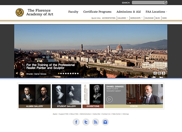 Florence Academy of Art's new website.