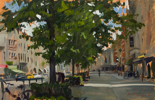 Plein air painting of Sunday Morning in Mechelen, Belgium.