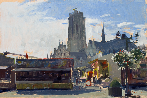 Plein air painting of the Fair in Mechelen, Belgium.