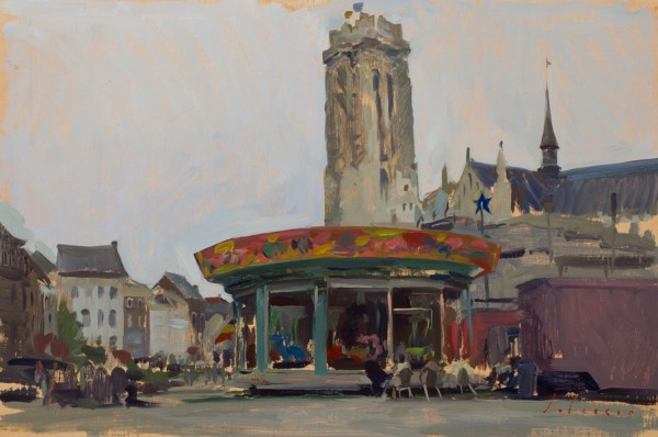 Plein air sketch of the Fair in Mechelen, Belgium.