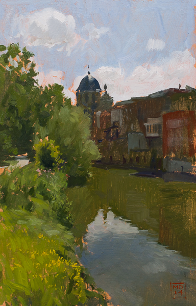 Oil painting of the Dyle river in Mechelen.